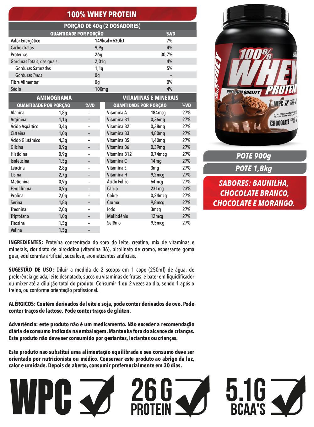 100% Whey Protein  1,8Kg - Chocolate Branco
