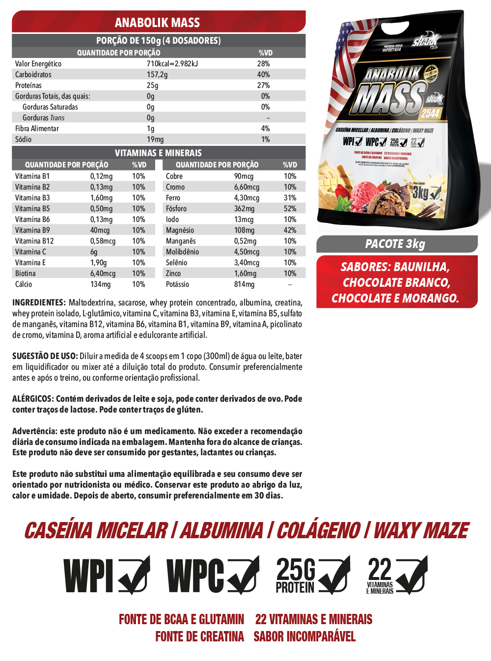 Anabolik Mass 3Kg - Chocolate Branco