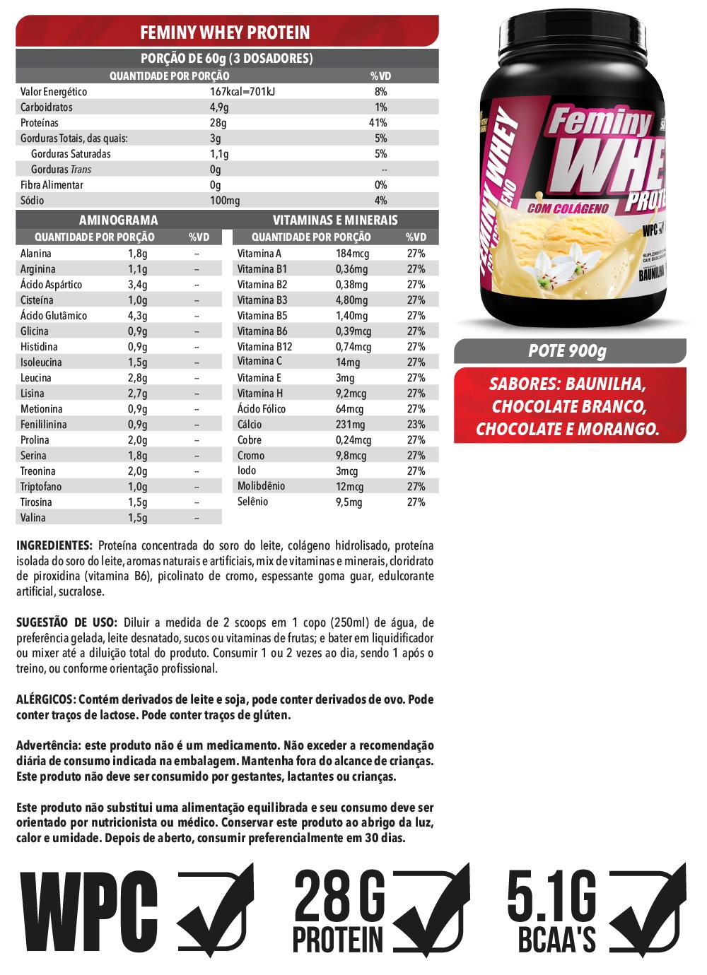Feminy Whey Protein 900g - Morango