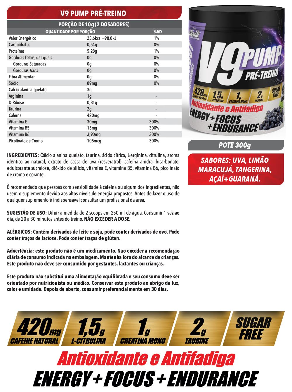 V9 Pump Pré Treino 300g - Uva